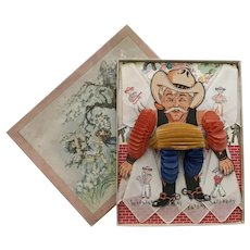 Unusual Vintage Cowboy Boxed Presentation 7 Days-Of-The-Week Children's Hankies Printed with Cowboys