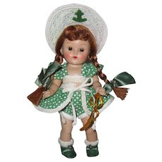 """1952 Vintage Vogue Strung Ginny Doll """"Beach"""" Sports Series Great Facial Color!"""
