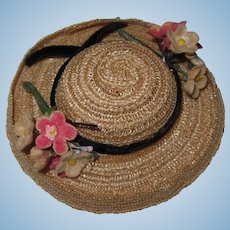 Vintage 1950's Vogue Ginny Doll Horsehair Straw Hat Great Condition!