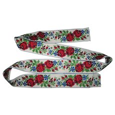 """Vintage Ribbon with Embroidered Flowers 40"""" long x 1 1/2"""" W"""