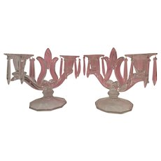 Super Indiana Glass Company Candle Holders with Prisms