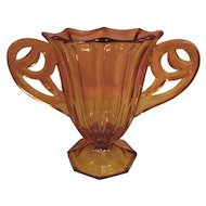 Beautiful Amber Czechoslovakia Glass Vase