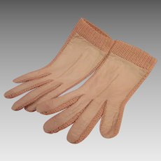 Leather and Knit Ladies Driving Gloves