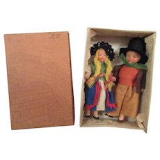 old Boxed Pair of German All Bisque Dolls