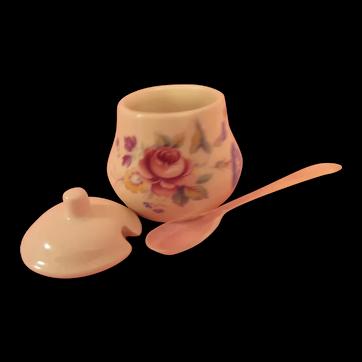 Fine Little English Porcelain Mustard or Jam Jar
