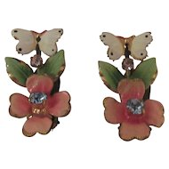 1950's Enamel and Rhinestone Earings