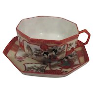 Rare 6 Sided Oriental Cup and Saucer