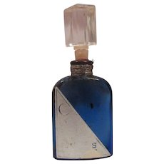 Vintage Cobalt Blue Perfume Bottle with Evening in Paris Label