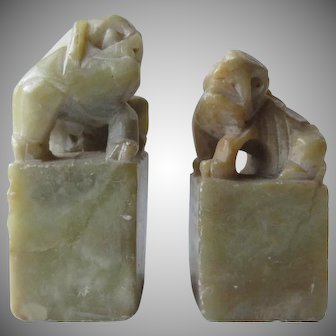 Vintage Chinese stone Seal - Hand Carved Fu Dragon - Foo Dog