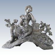 Antique Spelter woman figurine statue - ca 1900s