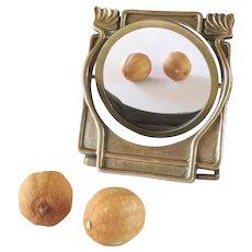French mid century swivel mirror in brass