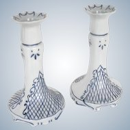 Limoges - signed H Duffour - Pair of handpainted french porcelain Candlesticks