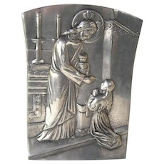 Religious pewter work, handmade plaque depicting Breaking of Bread