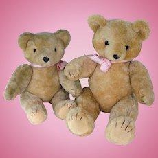 Shanghai Doll Factory - pair 1960s  stuffed pure wool Teddy bears