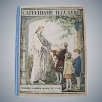 Vintage French 1931 book - Catechism illustrated - with many illustrations