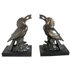 French Art Deco Exotic Bird Bookends ca 1920 - Spelter book ends