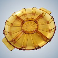 Bohemian Czech - Art Deco amber glass serving tray - divided platter