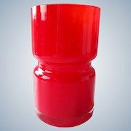 Vintage Scandinavian red glass vase
