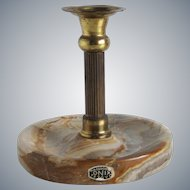 Vintage Brass candlestick / candle holder with onyx base, Macedonia 1980s
