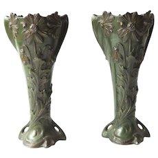 Claude Bonnefond signed - Exceptional antique pair of french Art Nouveau vases - bronze