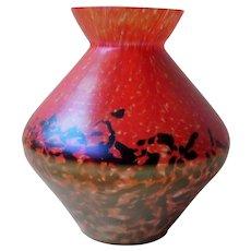 Czech / bohemian art deco iridescent spatter glass vase