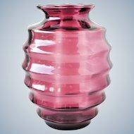 Doyen Belgium - Optic cranberry glass ribbed vase 1930s