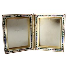 Vintage italian hinged double picture photo frame in Millefiori mosaic