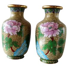 Vintage pair of small chinese cloisonne vases