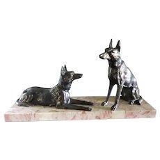 Art Deco Metal & Marble Sculpture of German Shepard Dogs, France 1920 - 1930