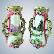 Pair of Antique Austrian Jugendstil ( Art Nouveau ) majolica vases