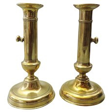 French pair of brass ejector candlesticks / candle holders - 19th century