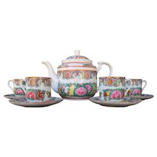 Chinese Famille Rose teapot with cups and saucers set
