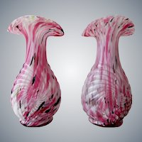 Legras - pair of French Spatter Art Glass Vases - around 1900s