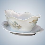 Delinieres & Cie ( D&Co ) - sauce boat with attached underplate - Limoges France 1894-1900