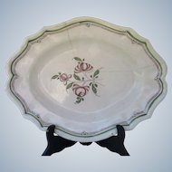 Rouen / Forges-les-Eaux Antique 1800s French 15 inch plate with old staple repair - France