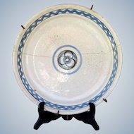 Rouen / Forges-les-Eaux Antique 1800s French plate with old staple repair Cul noir - France