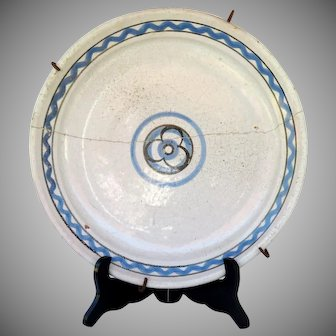 """Charming 1800s French faience Rouen platter with old staple repair  """" Cul noir """""""
