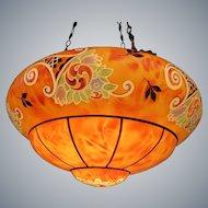 Art deco painted Opaline pendant light