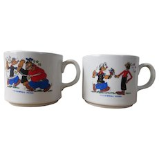 Collectible pair of vintage Popeye cups
