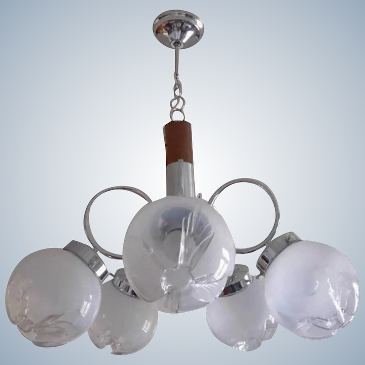 Mid Century Atomic Age Vintage Chandelier With 5 Globes Ivorie Curiosa Ruby Lane