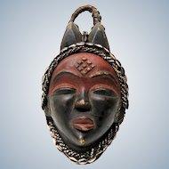 Punu Gabon - Vintage african wooden black Okuyi  Mukuyi mask -