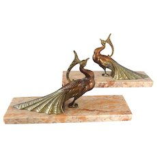 Pair of spelter peacock birds figurines , Art deco book ends on marble base, TED signed, ca 1930s bookends