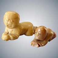Antique small chinese soapstone carving of Lohan / Luohan