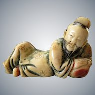Antique small chinese polychrome soapstone carving of Lohan / Luohan