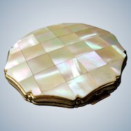 Vintage 1980 Kigu Powder Compact with mirror - brass and faux mother of pearl MOP