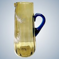 Antique Bohemian Mary Gregory brown and blue glass jug - white painted pitcher
