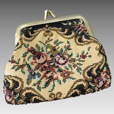 Vintage small floral tapestry wallet / purse