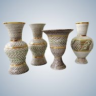 Breugnot /  Brisdoux France - studio Stoneware set of 4 vases