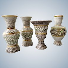 Breugnot /  Brisdoux France - studio Stoneware set of 4 vases