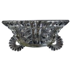 Bohemian Czech - Art Deco clear pressed glass footed fruit bowl